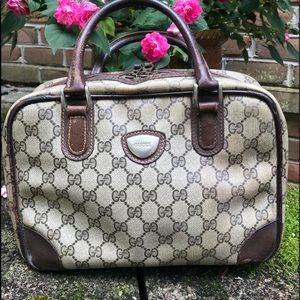 Vintage Gucci Coated Canvas Boston Speedy Handbag
